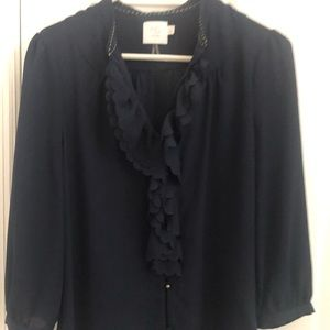 Anthropologie HD Navy Blouse Size 8